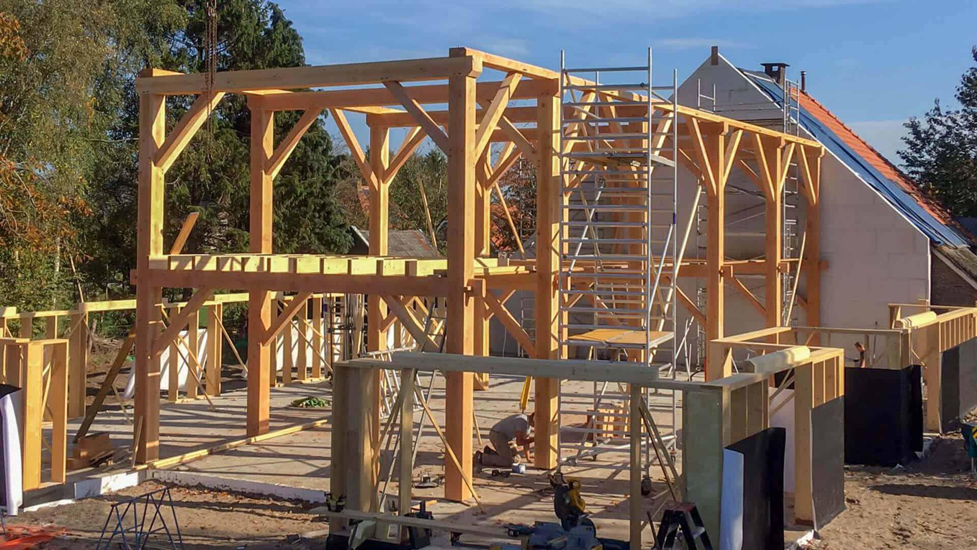 Opbouw Douglas houten constructie met stijger